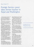 Foreign service career takes former teacher to Nepal and Washington, Alumnus, April 1993